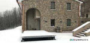 Ascensore auto montauto Lift P1S installazione Green Park con tetto pavimentabile