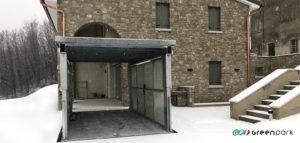 Ascensore auto montauto Lift P1S SCB Green Park con tetto di copertura